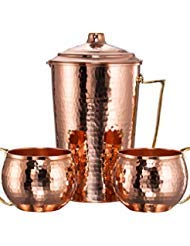 *NEW* CopperBull Heavy Gauge 100% Pure Solid Hammered Copper Moscow Mule Water Serving Set (Pitcher & 2 Mugs)