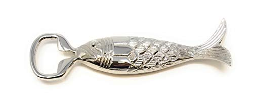 Madison Bay Company Polished Nickel Plated Fish Bottle Opener, 6 Inches Long