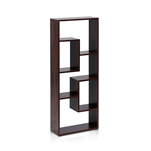 Glass Walnut Bookcase (Furinno FNAJ-11033 Boyate Five Wall Mounted Shelf, Walnut)