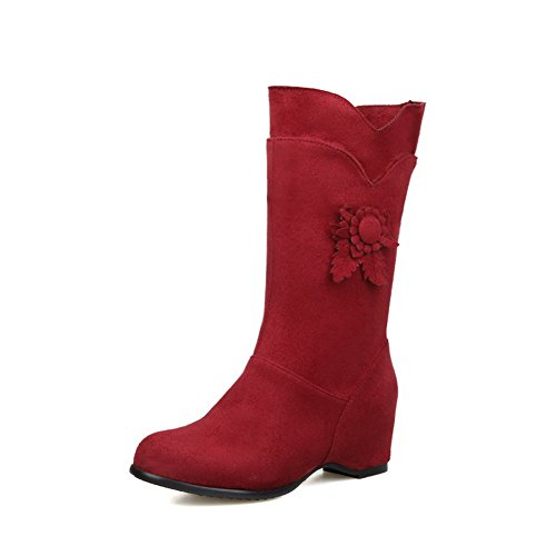 AdeeSu Ladies Ornamented Round Toe Kitten-Heels Imitated Suede Boots Red 3bqPESyZ