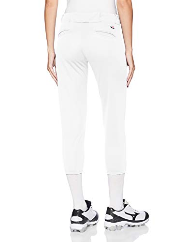 Alleson Ahtletic Women's Fast Pitch Softball Belt Loop Pants, White, Medium