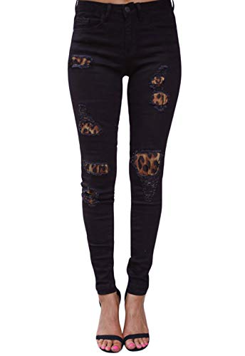 GOSOPIN Women Leopard Print Destroyed Ripped Skinny Distressed Denim Jeans Small Black