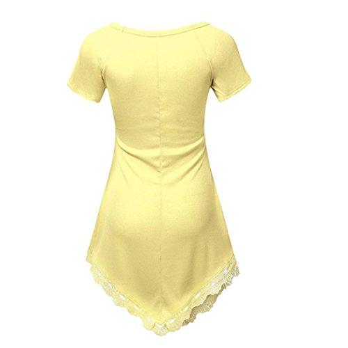 Tops para Mujeres - Rcool - Las Mujeres del Verano de Manga Corta de Encaje Camiseta Ocasional Camisa de la Blusa Tops (Talla más) Amarillo