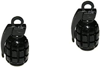 2er Set Ventilkappen - Handgranate - in schwarz für Motorrad