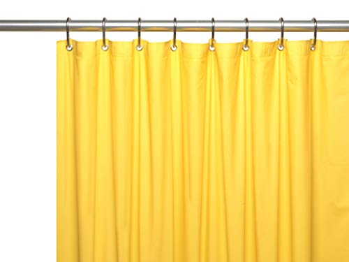 Hotel Collection Heavy Duty Mold & Mildew Resistant Premium PEVA Shower Curtain Liner with Rust Proof Metal Grommets - Assorted Colors (Bright Yellow) (Echo Shower Curtain)