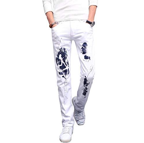 Especial Fit Da Tempo In Denim Pantaloni Cotone Stretch Libero Uomo Jeans Estilo Dritti Bianca Slim zCq1wtqY