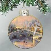 - Thomas Kinkade Satin Ball Glass Ornament - Spirit of Christmas