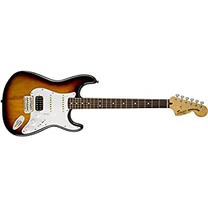 "'Fender s0301215500 Stratocaster Electric Guitar 6 Strings Black, White, Wood Guitar (6 String, nickel-plated steel 0.229 – 1.07 mm (0.00900 – 0.0420 ""), 0.229 mm (0.00900""), 0.279 mm (0.0110 ""), 0.406 mm (0.0160))"