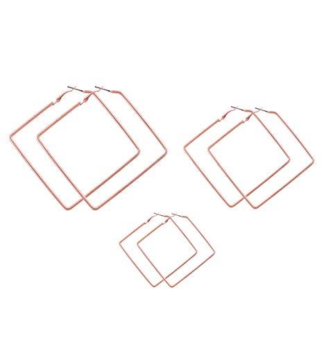 (LPON Square Hoop Earrings 3 Pairs Geometric Hoop Earrings Dangle Earring Set for Women Girls)