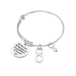 iJuqi Aunt Gift from Niece - Aunt Niece Bracelet, The Love Between an Aunt and Niece is Forever, Aunt Birthday Gifts, Stainless Steel Aunt Jewelry Gift (Infinity)