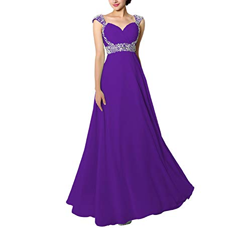 Beading Sequined Dresses Chiffon Sweetheart Lace Up Back Women Long Evening Party Gowns,Purple,4 (Chiffon Beading Sweetheart Neck)