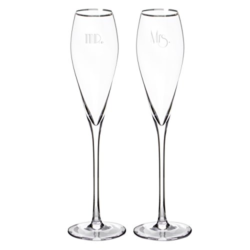 Cathy's Concepts Mr. & Mrs. Gatsby Champagne Flutes (Set of 2), Silver
