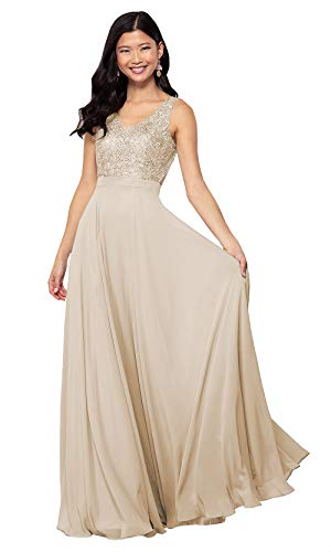 Women's V Neck Lace Bodice Formal Dress with Chiffon Skirt Open Back Champagne Prom Gowns US14