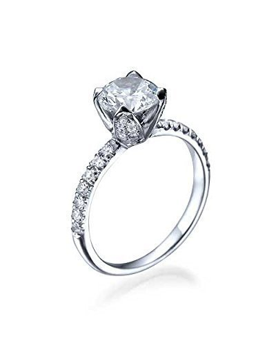 1.00ct E/VS2 White Gold Flower Unique Round Cut Diamond Engagement Ring 14k White Gold – Anniversary Rings for Women