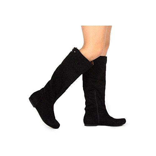 Stretch Knee Neo Women's 181B Suede Boot Qupid Hi Faux Black wgOCIqI