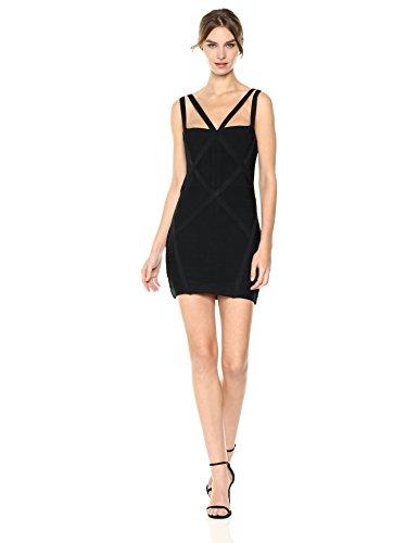 Bebe Bandage Dress (bebe Women's Missy Sexy Bandage Bodycon Sheath Dres, Black, M)