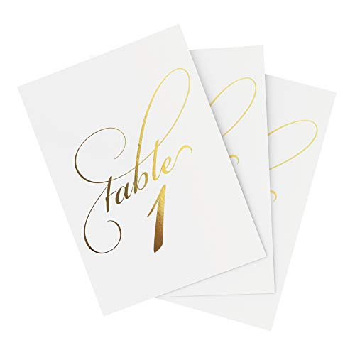 Bliss Paper Boutique Gold Wedding Table Numbers (Assorted Color Options Available), Double Sided 4x6 Calligraphy Design, Numbers 1-40 & Head Table Card Included by Bliss Paper Boutique