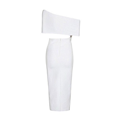 Bandage One Split Shoulder Bianco Hlbandage Midi Rayon Dress Front Slash Neck 4gpqFw8