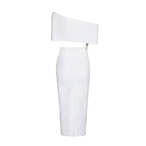 Frontseiten Verband Weiß One HLBandage Schulter Kleid Schlitz Maxi Slash Kunstseide Ansatz vwY6wq8B1