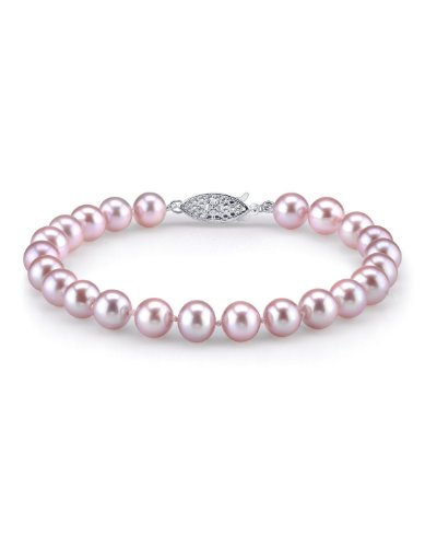 THE PEARL SOURCE Sterling Silver 7-8mm AAA Quality Round Pink Freshwater Cultured Pearl Bracelet for Women