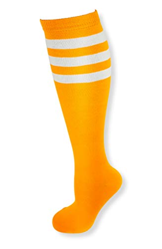 Neon Nation Colored Knee High Tube Socks w/White Stripes (Neon -