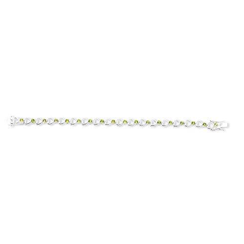 Bracelet en argent Sterling avec péridot - 19 cm-Fermoir-JewelryWeb