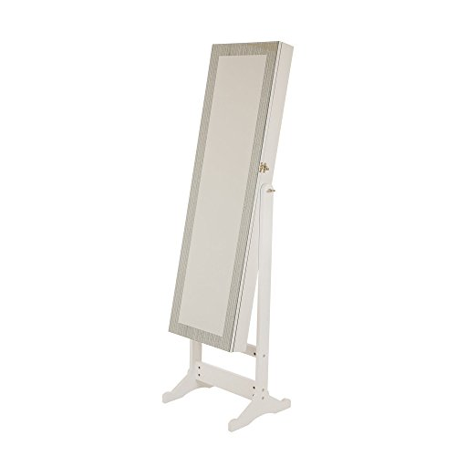 Glitzhome Jewelry Armoire with Mirror Lockable Jewelry Cabinet Standing White by Glitzhome