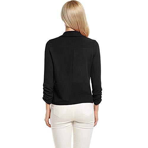 Manteau Travail De Blanc Femme Manches VJGOAL De Costume Court Mode De Cardigan Blazer De Veste 4 Travail De Bureau Avant Noir 3 La Ouvert Bureau AgXwzwx