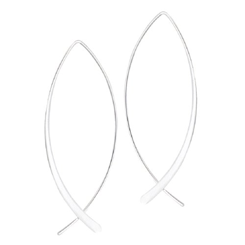 Ichthus Fish Shaped Threader Pierced Earrings Sterling Silver, New