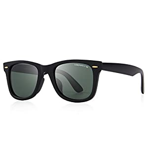 MERRY'S Retro Rivet Polarized Sunglasses for Men 80's Classic Women Sun glasses S8140 (MatteBlack&G15, 50)