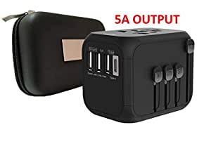 TRAVELPAL: Universal Travel Adapter with Premium Case (high-Speed 5 amps, 3 USB & 1 Type C Ports and Compatible in Over 200+ Countries)