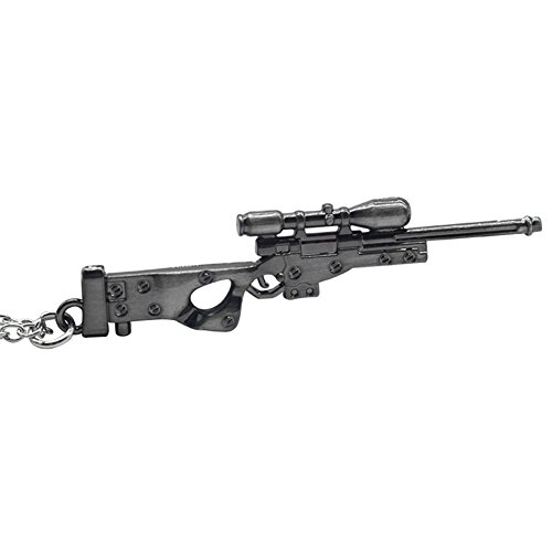 (Unisex Sterling Silver Plated Gun-black Colored 3D Sniper rifle charm Pendant)