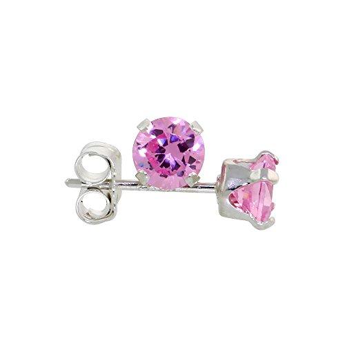 Sterling Silver Cubic Zirconia Pink Zircon Earrings Studs 4 mm Pink Color 1/4 carat/pair -