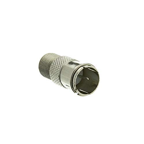 GOWOS F-pin Coaxial Quick Connect Adapter, Threaded F-pin Female to Quick F-pin Male - Universal Grounded DVI USB HDMI Gender Ethernet Modem Converter Wall Plug Charger ()