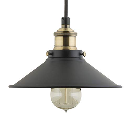 (Andante LED Industrial Kitchen Pendant Light - Antique Brass Hanging Fixture - Linea di Liara LL-P407-LED-AB)