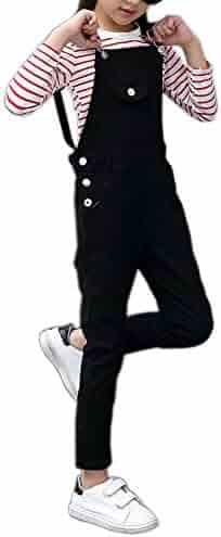 e0db1b3542e Girls Big Kid Adjustable Strap Cotton Suspender Bib Overalls Long Pants  Trousers