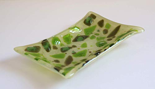 Pet Cremains Fused Glass Trinket Dish Ivory and Green from Serendipity-Studio