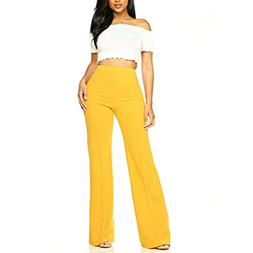 gugs Yoga Pants with Pockets for Women High Waist Workout Bootleg Pants Tummy Control, Work Pants for Women Yoga Pants (S, Yellow)