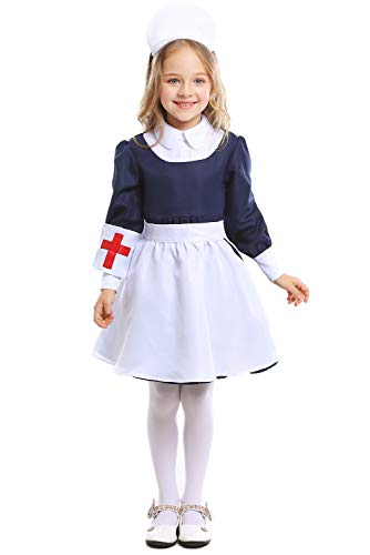 Dark Paradise Kids Girls Nurse Costume Dress Halloween Cosplay Dress Up Party Uniform ()