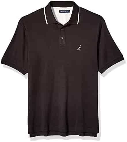 3083d7c77d10 Nautica Men's Big and Tall Classic Fit Short Sleeve Solid Tipped Collar  Soft Polo Shirt