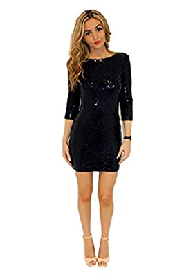 TowerTree Women's Sparkle Glitter Sequin 3/4 Sleeve Bodycon Shiny Party Dress Vegas