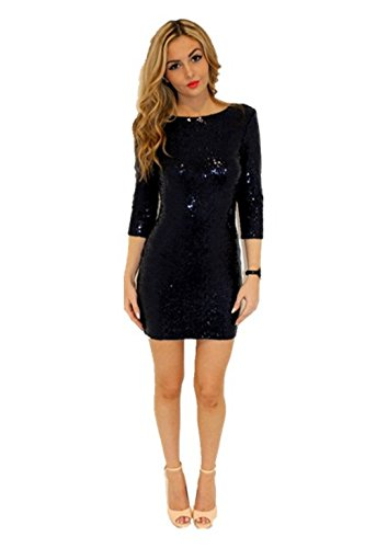 [TowerTree Women's Sparkle Glitter Sequin 3/4 Sleeve Bodycon Mini Club Wear Dress Vegas] (Womens Black Sequin Short Dress)