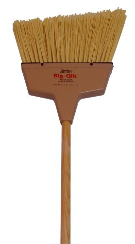 Zephyr 34058 Zip-Qik Wide Angle Broom with Plastic Handle, 9'' Head Width, 54'' Overall Length, Brown (Case of 12)