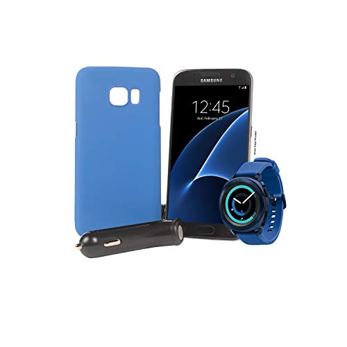 Tracfone Samsung Galaxy S7 4G LTE Smartphone, Black with Samsung Gear Sport Smartwatch (Bluetooth), Blue, SM-R600NZBAXAR, 1500 Minutes, 1500 Text, 1.5GB Data, 1 Year of Service, Blue Case, Car Charger