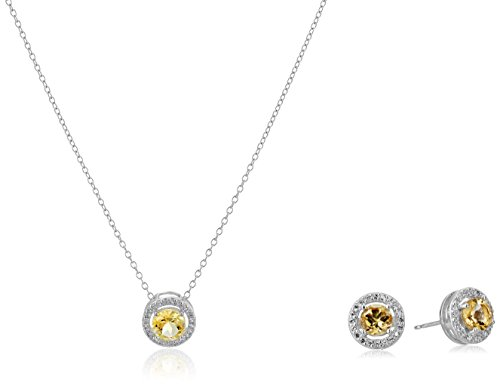 Rhodium-Plated Sterling Silver and Created White Sapphire Halo Earrings and Pendant Necklace Jewelry Set