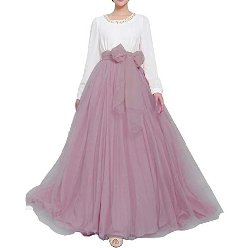 Women Wedding Long Maxi Puffy Tulle Skirt Floor Length A Line with Bowknot Belt High Waisted for Wedding Party Evening (Mauve, Medium) -