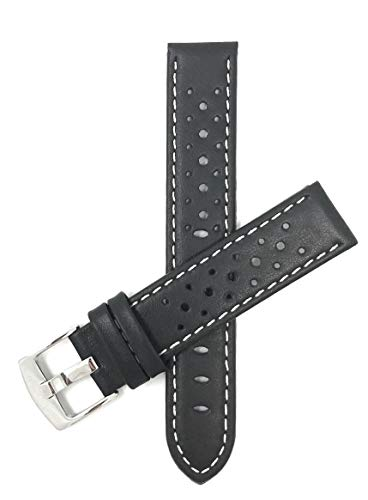 (Bandini 24mm Black with White Stitch, Vented Racer Genuine Leather Watch Strap Band, with Stainless Steel Buckle, New!)
