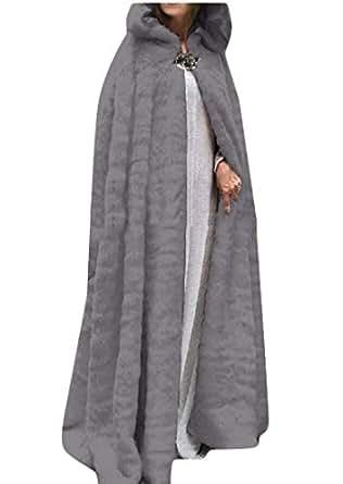 Womens Fuzzy Fleece Hooded Cape Cloak Halloween Warm Winter Cardigan Outwear Gery XS