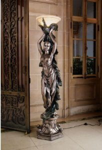 6ft Classic French Art Deco Decorative Peacock Lady Statue Art Nouveau Floor Lamp by Artistic Solutions