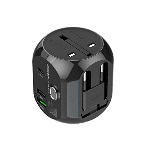 Orcbee  _Universal World Wide Travel Charger Adapter Plug Foreign Travel Power Converter UK US EU AU (Black)